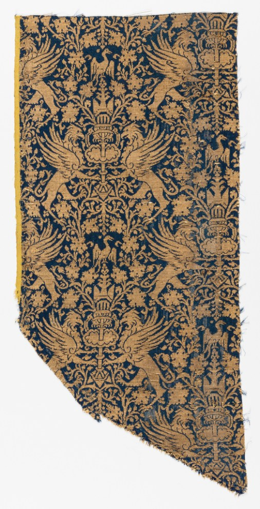 14TH CENTURY medium: silk, gilded parchment wound around linen core technique: two interconnected structures: 4&1 satin and weft faced plain weave (lampas)