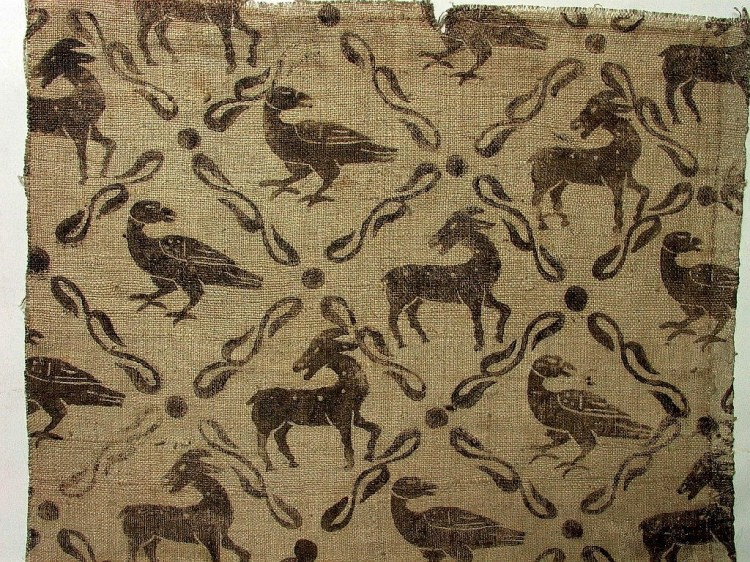 Block printed linen, 1300's, Rhineland