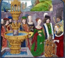The Queen in the lower corner wears a dress of crimson velvet, the most expensive velvet available. A lady to her left wears a green velvet gown with crimson velvet trim. Queen Catharina of Batavie presents her son at the court of love. c.1480 Poems of Charles d'Orleans, c.1480 -1500 British Library.