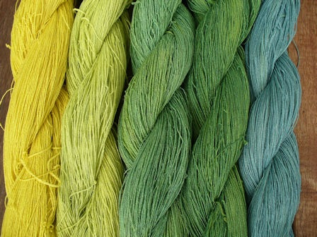 Weld yellow to woad blue to produce greens