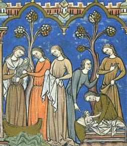 Women in yellowish and greenish dresses. c. 1250
