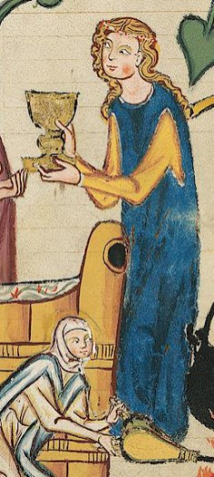 Woman in yellow dress under a blue surcoat, c. 1300 - 1340
