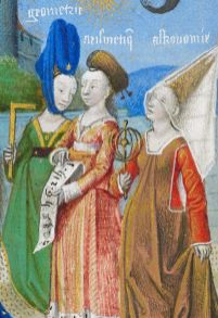 Philosophy Presenting the Seven Liberal Arts to Boethius (detail), attributed to the Coëtivy Master, in the Consolation of Philosophy, about 1460–70