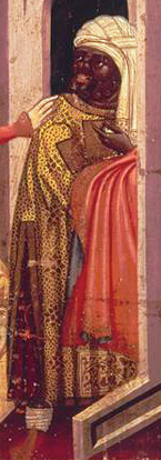 Black man in yellow brokade, Spain, 1370