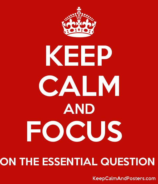 KEEP CALM AND FOCUS  ON THE ESSENTIAL QUESTION  Poster