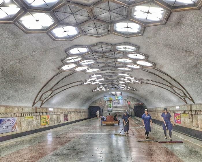 Cleaning in progress at Novsa metro station, Tashkent Photo by Freda Hughes