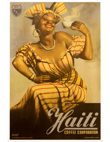 haiti coffee poster 1950 by gino boccasile original vintage poster on linen