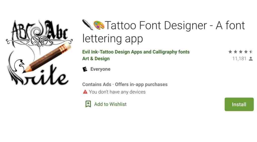 Tattoo Font Designer App