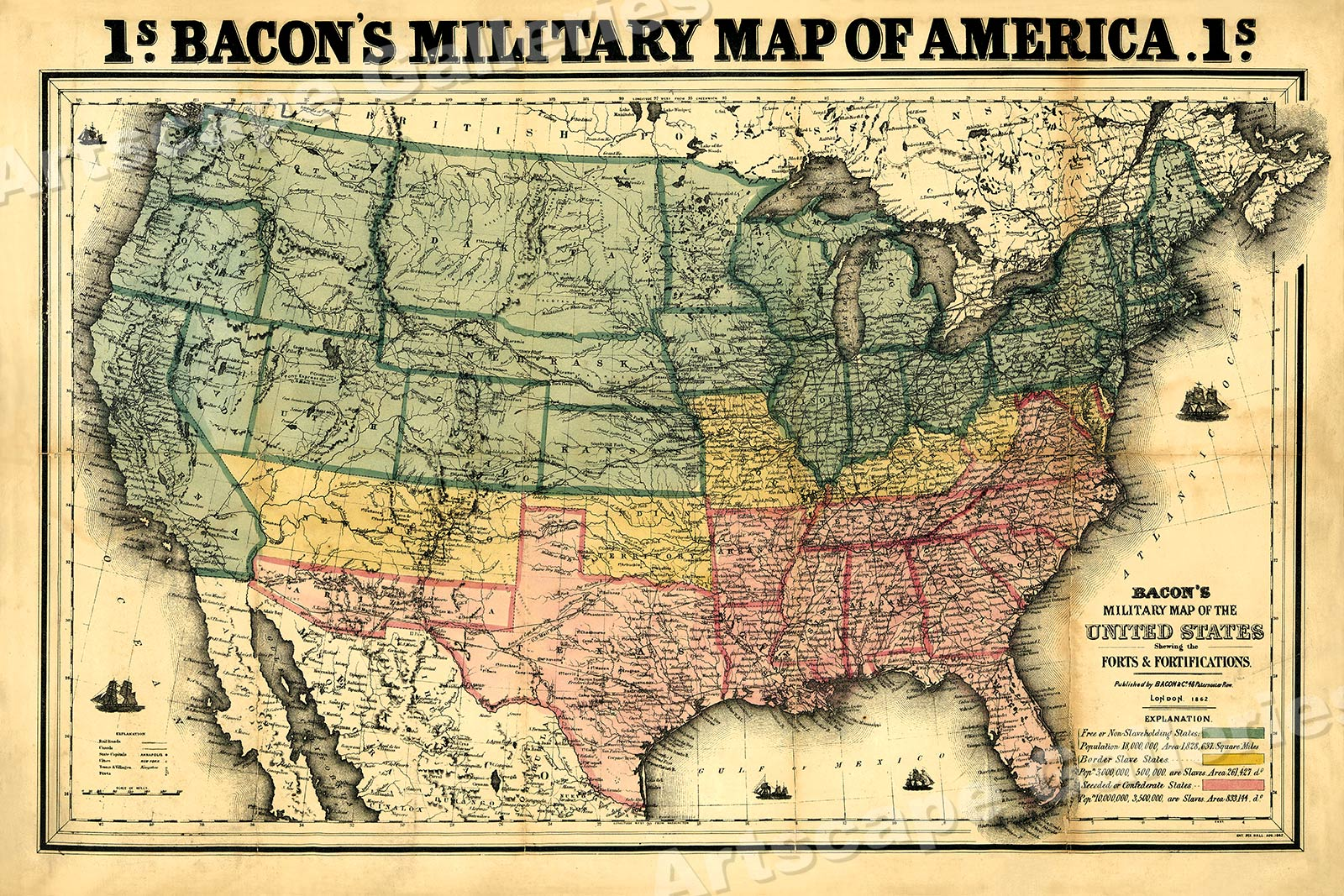 Bacons Military Map Of America Civil War Wall Map