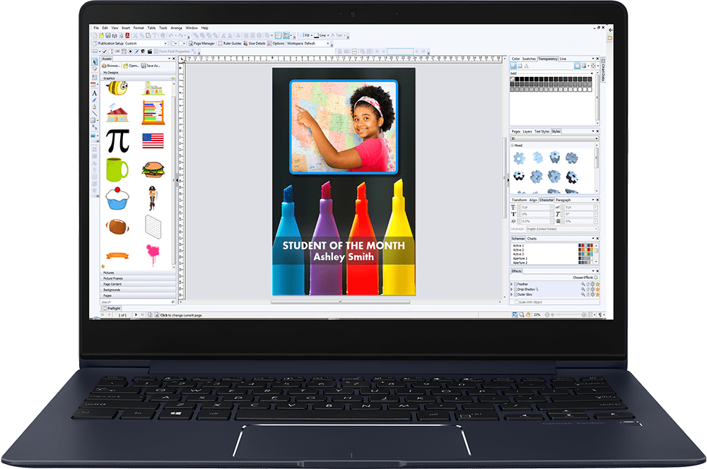 Using the Poster Studio software, you can create great looking posters on your own! Built in library of icons and images will help get you started.