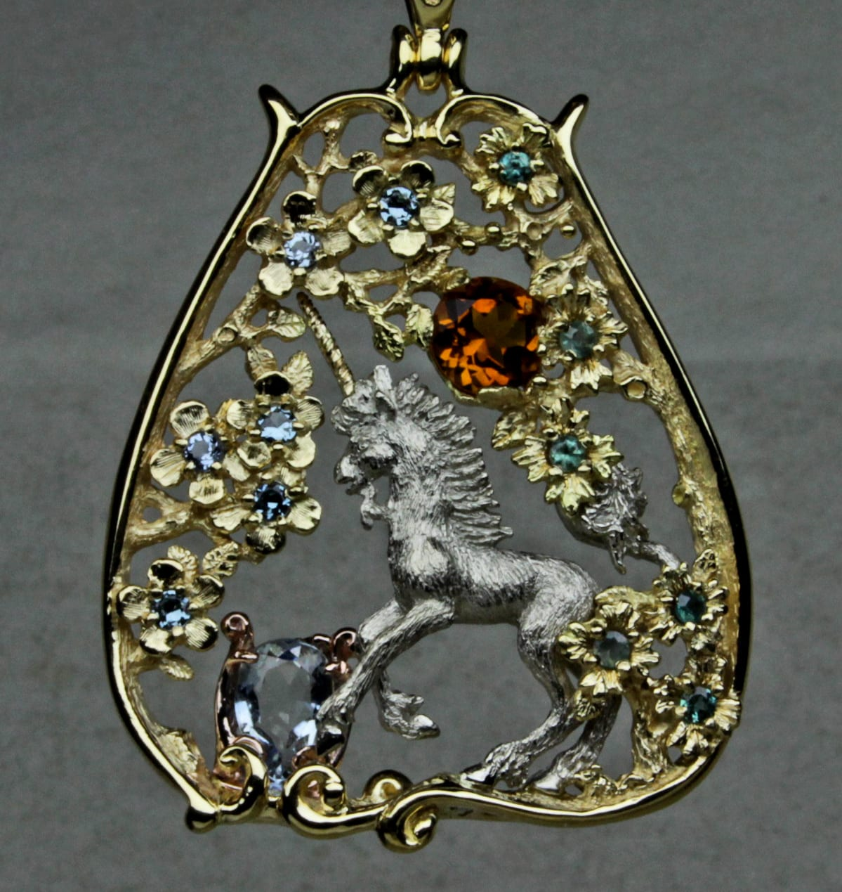 Unicorn purifying water pendant postgate fine jewelers celtic unicorn purifying water pendant in 18k yellow 14kpd white and 14k red golds aloadofball Images