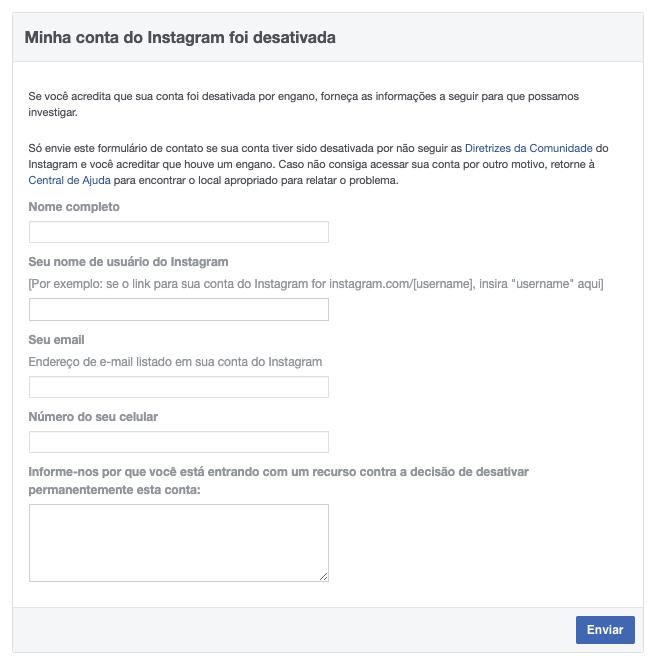 Captura de tela do formulário do Facebook