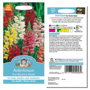 Mr. Fothergill's Seeds - Antirrhinum Rust Resistant Mixed