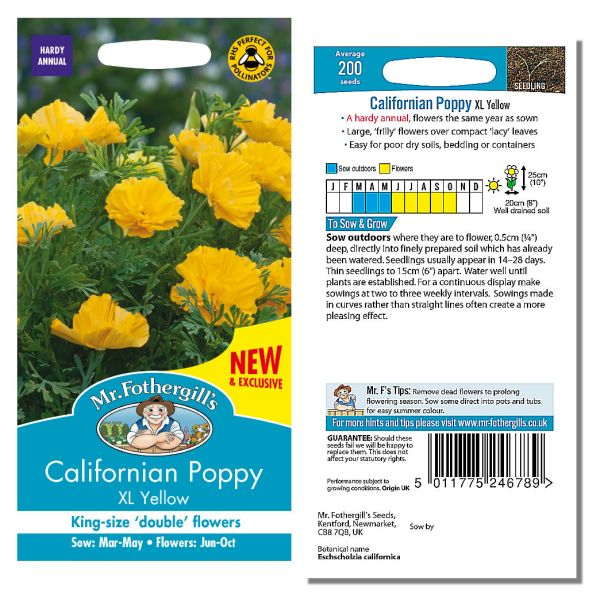 Mr. Fothergill's Seeds - Californian Poppy XL Yellow
