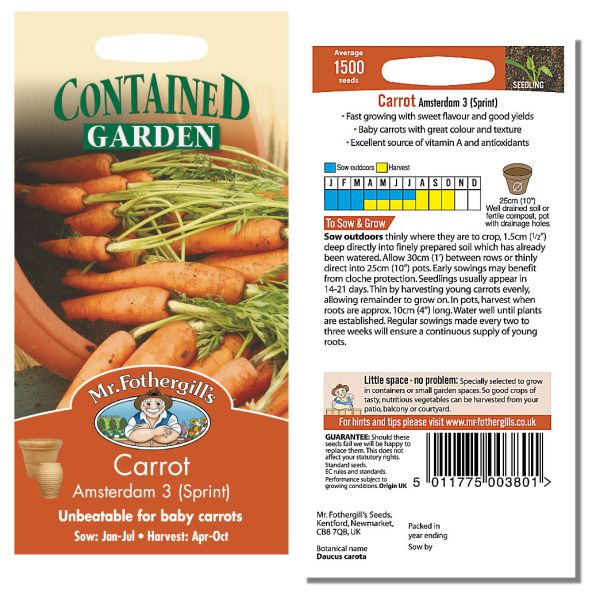 Mr. Fothergill's Seeds - Carrot Amsterdam 3 (Sprint)