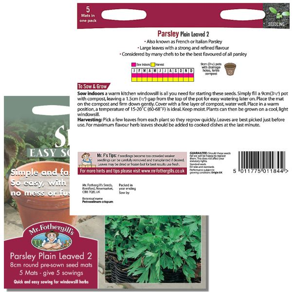 Mr. Fothergill's Seeds - Herb Garden Seed Mats - Parsley Plain Leaved 2