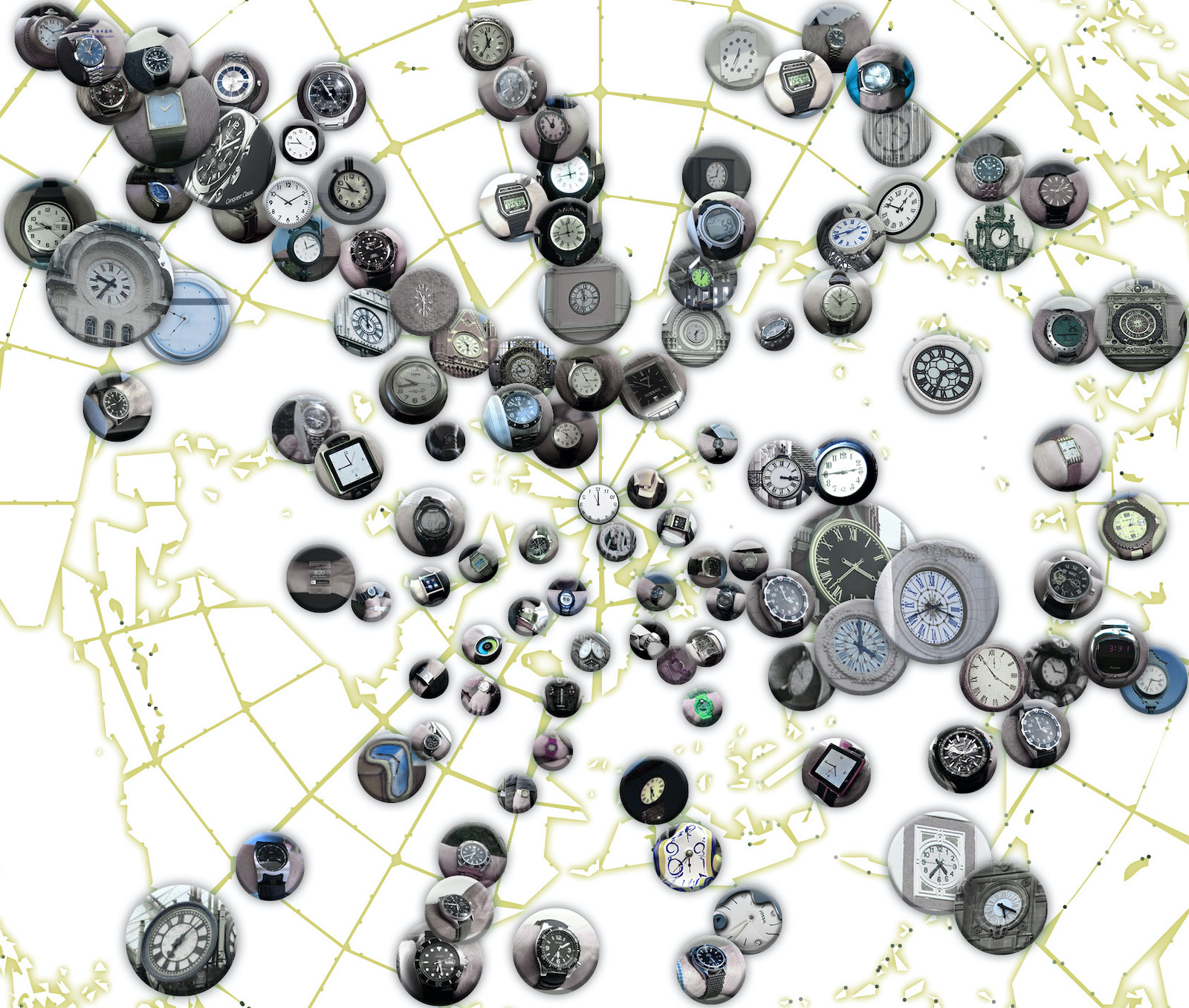 A collage of circular clock images in front of an outlined image of a globe.