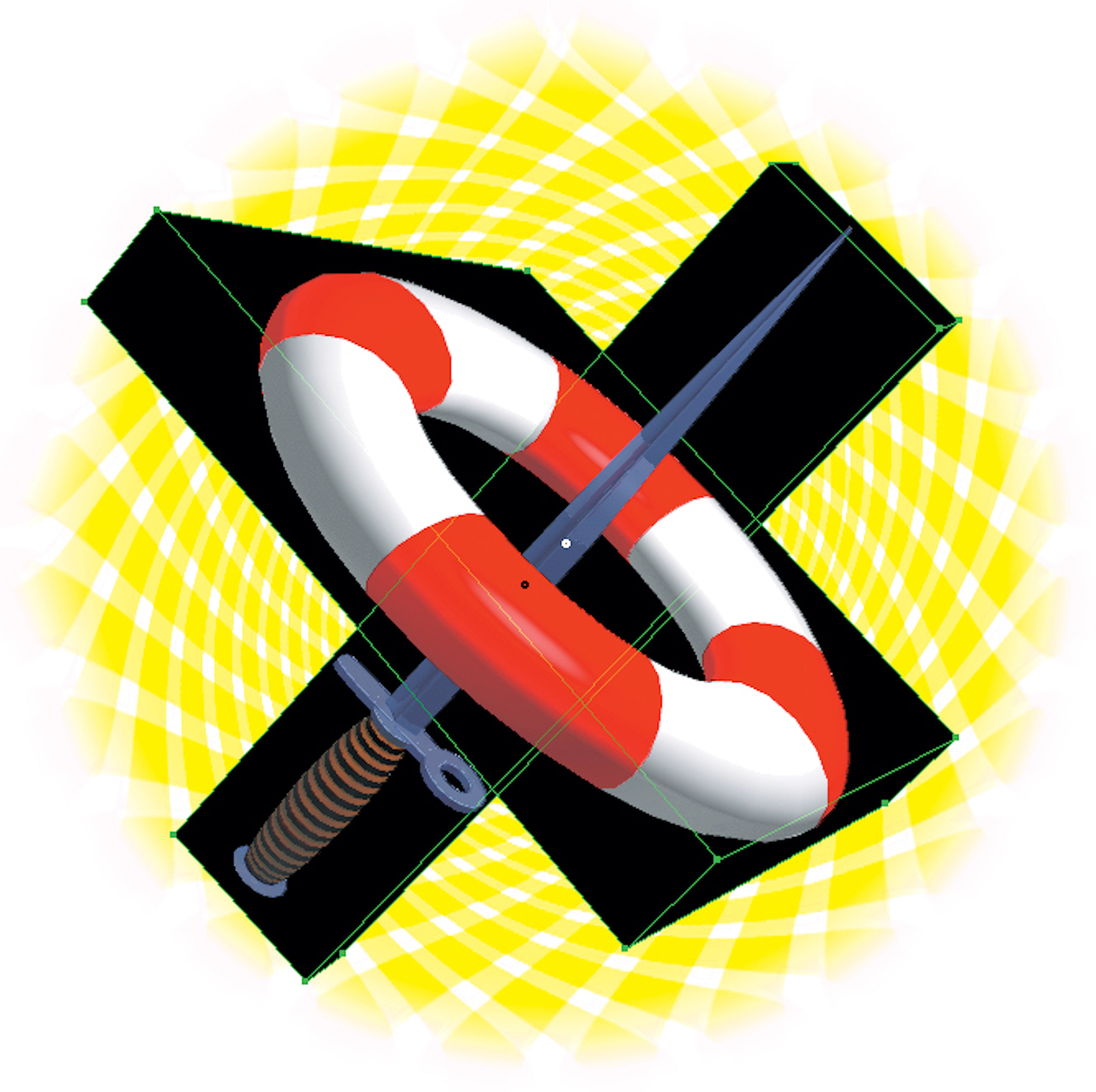 A red and white lifesaver with a sword through its center, both incased in two intersecting black rectangles.