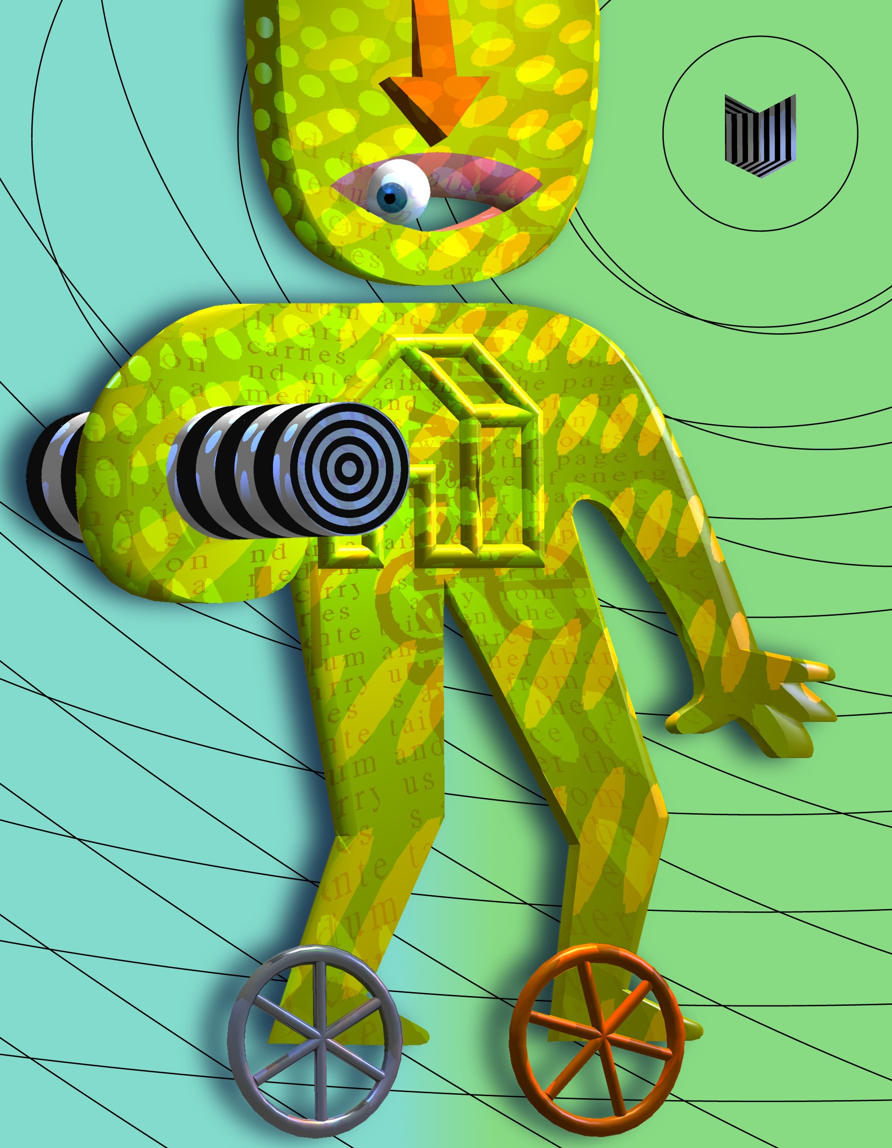 A yellow figure with an arrow for a nose and an eye in its mouth stands holding a spiral cylinder. In front of its feet are two wheels.