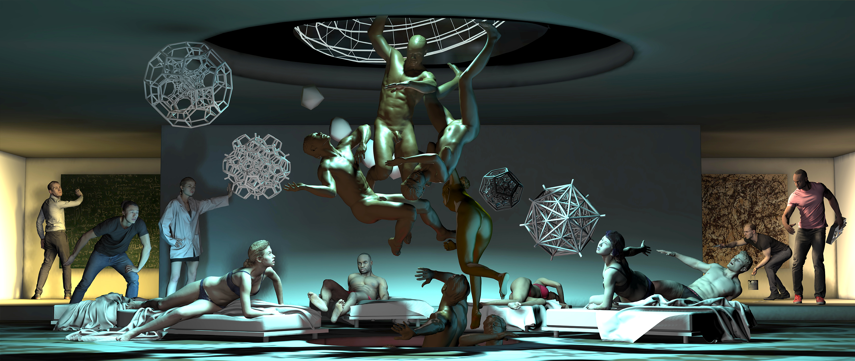 People standing around a gallery while some lay in beds across the floor. Four naked figures are floating up through the center.