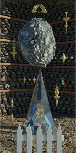 A large moon rock sits on top of a triangular prism in front of shelves of skulls.