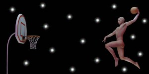 Naked man dunking a basketball into a hoop against a black background with stars.