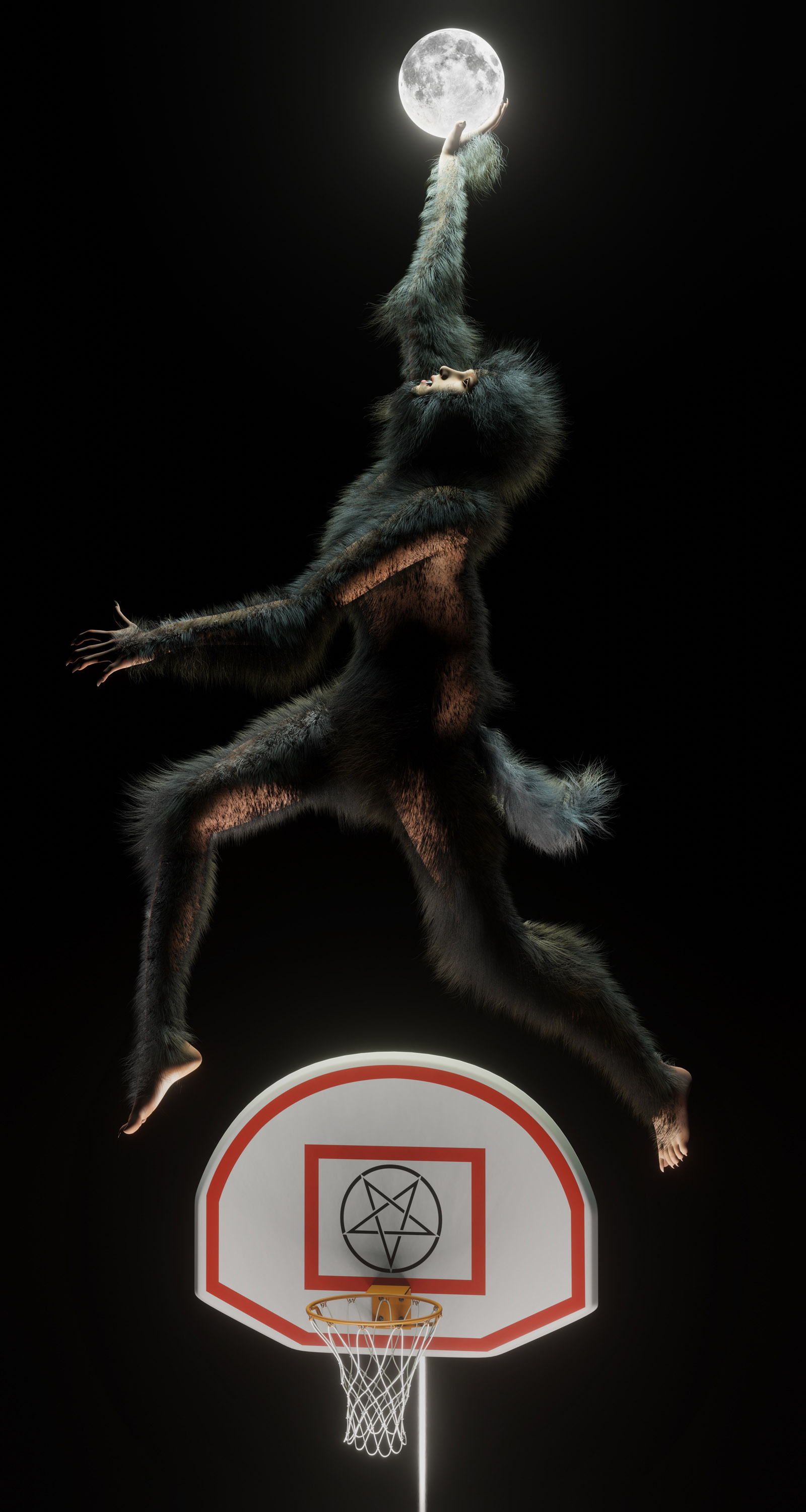 Furry man floating against a black background holding the moon.
