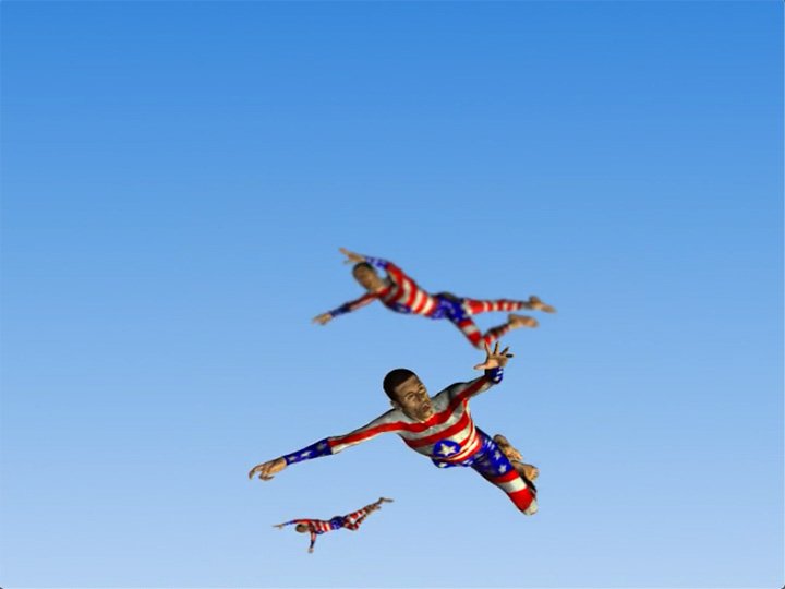 Three men fall from a cloudless sky wearing a superhero suit.