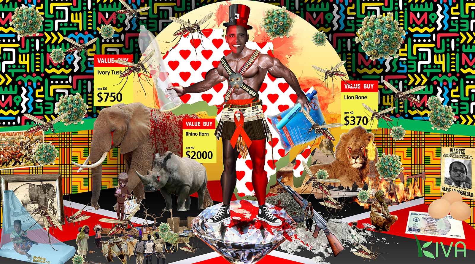 A political collage including an image of Barak Obama as a re-constructed Yoruba Orisha Trickster God Elegua/ Eshu.