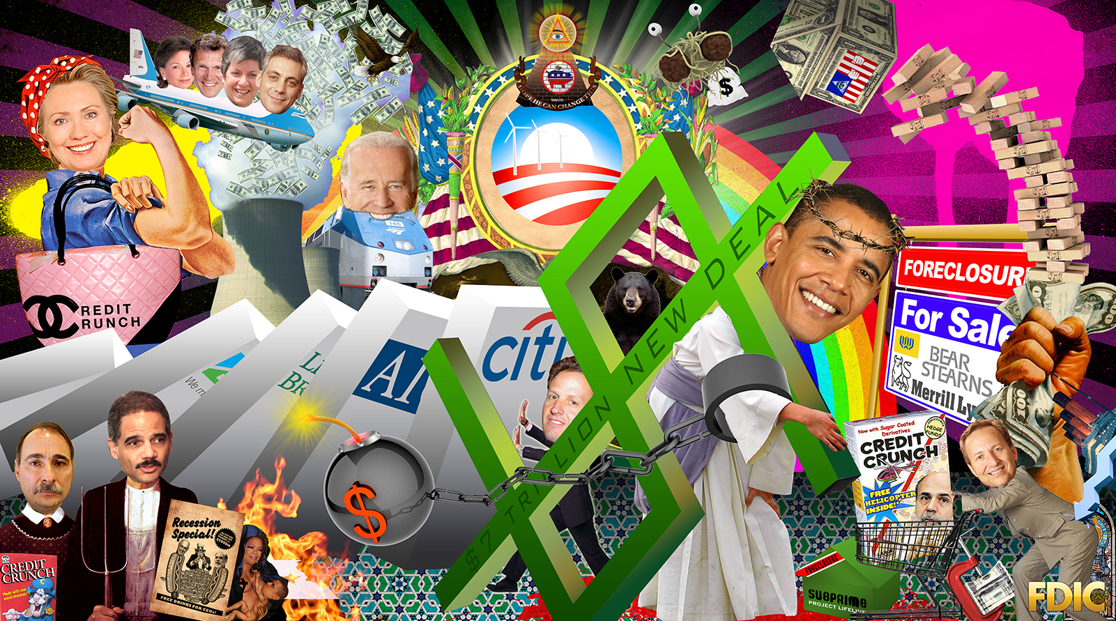 A political collage including an image of Barak Obama as Jesus Christ chained to a bomb, Hilary Clinton as Rosie the Riveter, and Joe Biden's head on the front of the train.