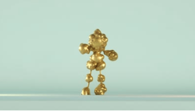 A human like figure constructed from golden meatballs against an aero-blue background.