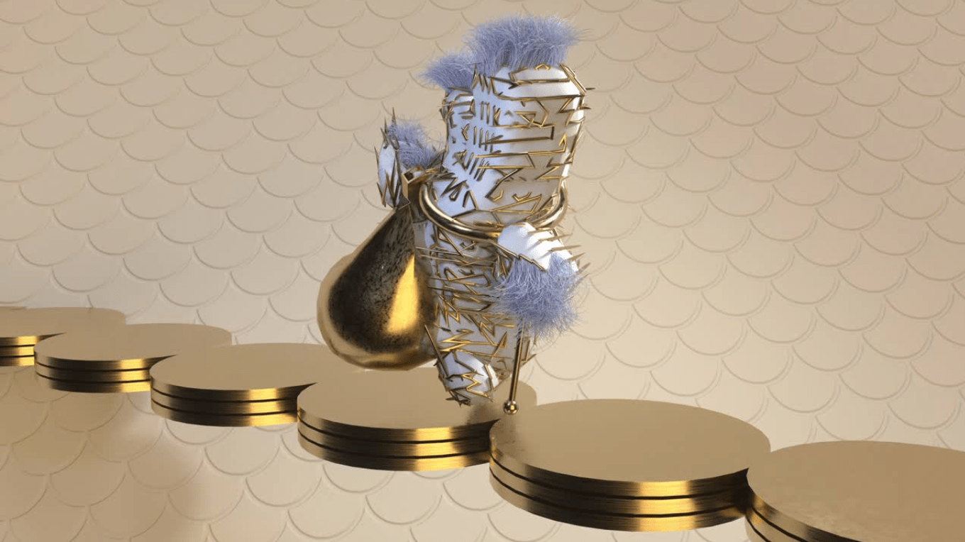A white object incased in a golden patterned wire, moving across five gold coins.
