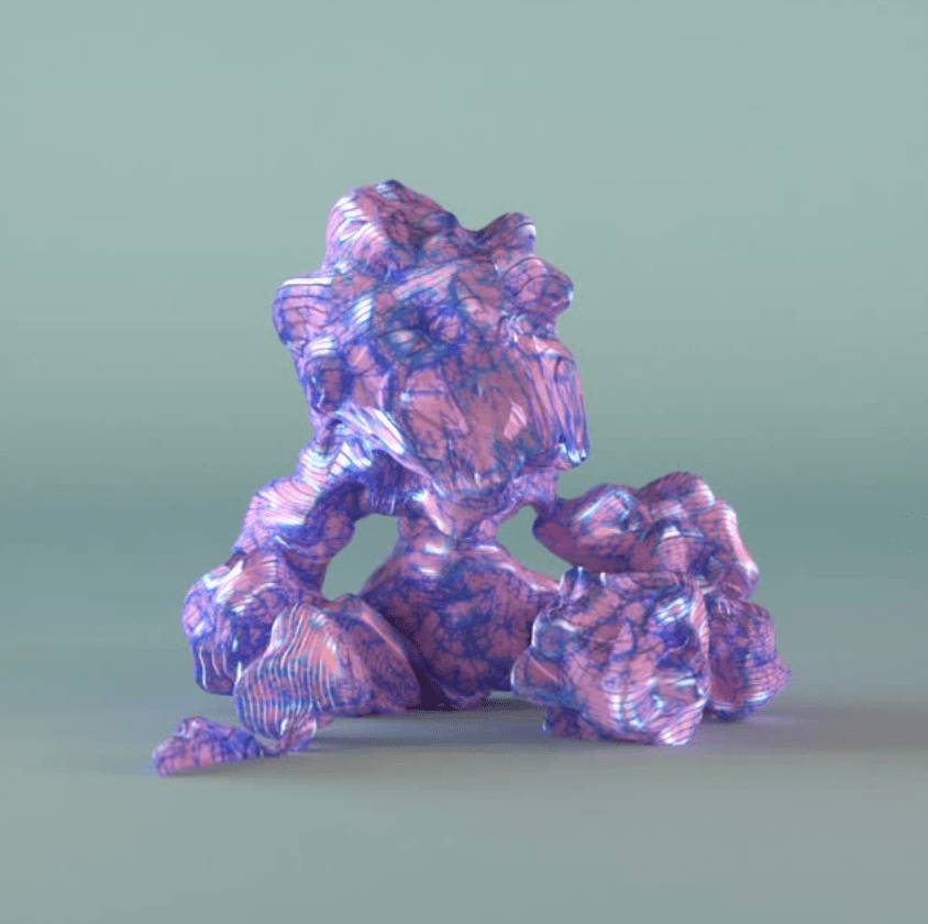 Pink and blue marbleized 3D stone-like figure over a grayish blue backdrop.