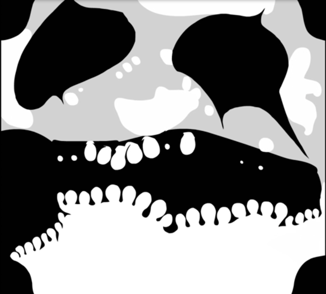 A greyscale image of an abstracted skull.