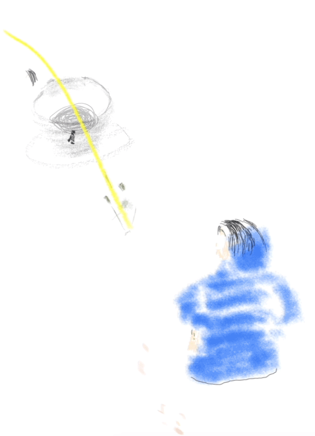 A line drawing of cup in gray with a yellow slash through it sits in the top left corner. In the bottom right corner is the drawing of the backside of a sitting human in a blue jacket.