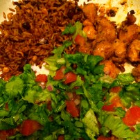 Rice, chicken and salad
