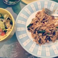 Mushroom Pasta and salad