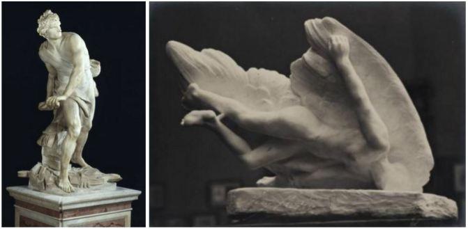 Berninis David (© Galleria Borghese/Commons Wikimedia) und Rodins Ikarus (© Eugene Druet/Commons Wikimedia)