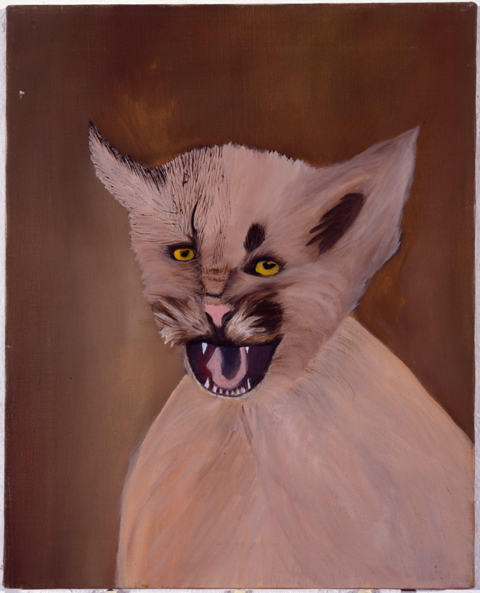 23. JIM SHAW. Pink Mountain Lion on Brown Background