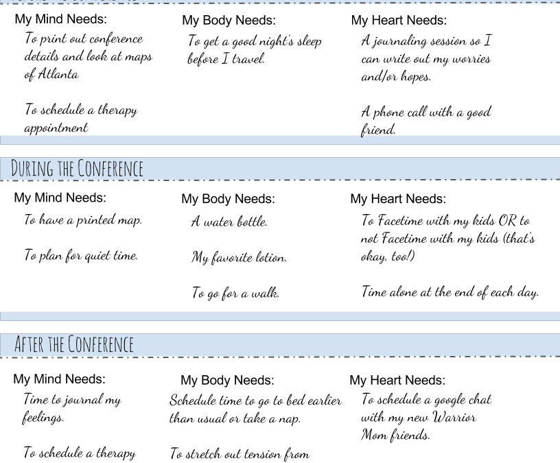 Warrior Mom® Conference Needs List: A Self Care Tool