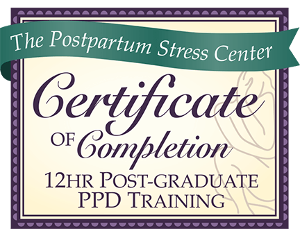 This is the badge for the Postpartum Stress Center, a leader in postpartum depression education and treatment.