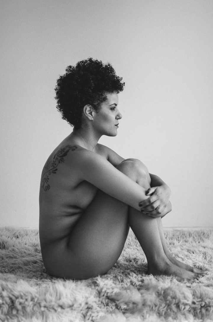 monochrome photo of nude woman