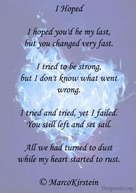 short sad love poems