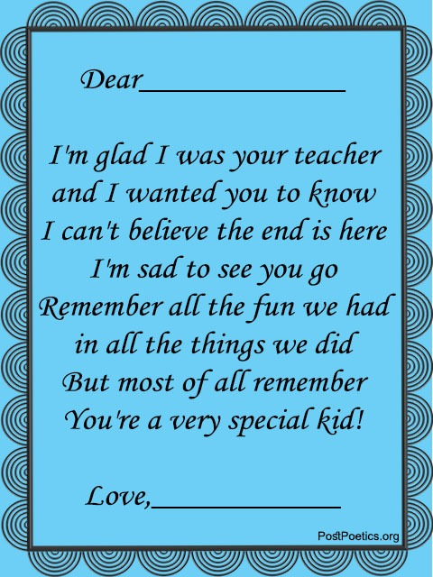 last day of school poems for teachers