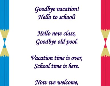 welcome back to school poems
