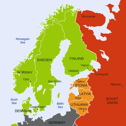 """Northern europe november 1939"" od Peltimikko – Own work by uploader, created using Raunio; Kilin: Talvisodan taisteluja (2007), p. 10 as a source.. Licencováno pod Volné dílo via Wikimedia Commons - http://commons.wikimedia.org/wiki/File:Northern_europe_november_1939.png#mediaviewer/File:Northern_europe_november_1939.png"