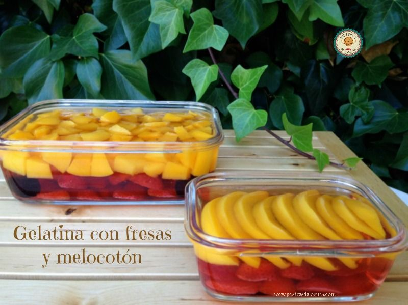 Gelatina con fresas y melocoton
