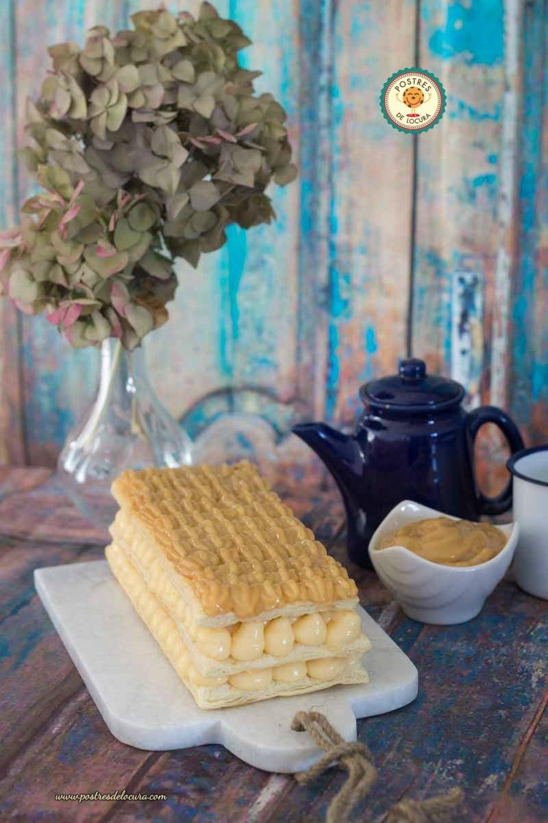 Milhojas de crema pastelera y dulce de leche