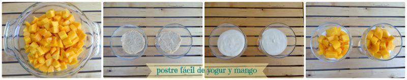 Elaboracion postre facil de yogur y mango