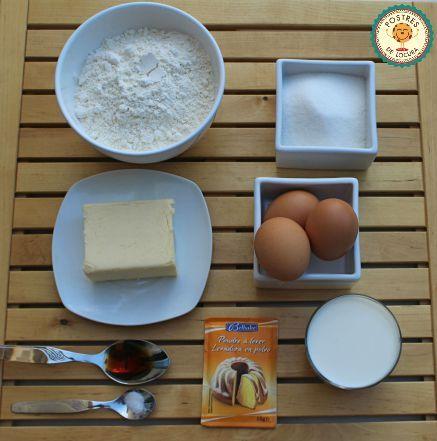 Ingredientes capa bizcocho para tarta de melocotón